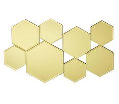 Wanddeko aus Spiegelglas und Holz, goldfarben. L/B/H: ca. 59/35/1,2cm.