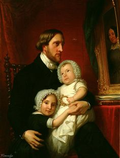 1849 Jan Adam Kruseman Portrait of Simeon Petrus, Baron Van Heemstra, with His Daughters