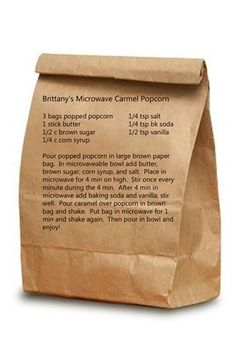 Microwave Carmel Popcorn (replace butter with vegan Earth Balance)