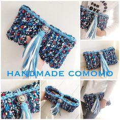 Crochet Clutch, Crochet Purses, Knit Crochet, Finger Knitting, Macrame Bag, T Shirt Yarn, Learn To Crochet, Knitted Bags, Handmade Bags