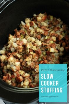 Cooker Stuffing This slow cooker stuffing free's up your oven for other Thanksgiving favorites!This slow cooker stuffing free's up your oven for other Thanksgiving favorites! Slow Cooker Recipes, Crockpot Recipes, Cooking Recipes, Oven Recipes, Meal Recipes, Pork Recipes, Crockpot Stuffing, Vegetarian Stuffing, Instant Pot