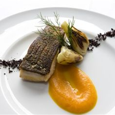 Try this Kingfish with Carrot, Orange and Saffron Puree and Dried Olives recipe by Chef Alessandro Pavoni.