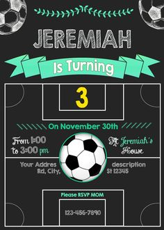 Surely you and your kids are sports lovers, for that reason i like to offer you this beautiful invitation for a soccer birthday party. Soccer Birthday Parties, Birthday Party Treats, Kids Birthday Themes, 10th Birthday, Baby Birthday, Barcelona Soccer Party, Kids Birthday Party Invitations, Childrens Party, Party Ideas
