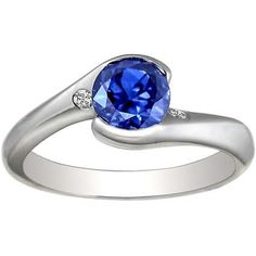 Platinum, diamond, Sapphire Engagement Ring