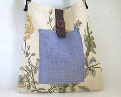 Japanese printed canvas tote Romantic handmade by sewingfairydust