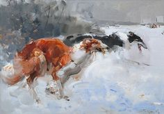 Gorbikov, Alexander Borzoi Hunting, V Mask Painting, Painting Snow, Greyhound Kunst, Borzoi Dog, Russian Wolfhound, The Fox And The Hound, Watercolor Animals, Dog Portraits, Animal Paintings