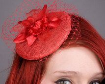 Red Fascinator- Red Cocktail Hat- Red Orchid Flower