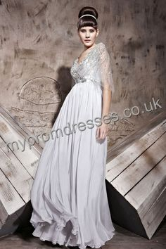 Floor Length V-neck Gray Chiffon A-line Evening Dress  http://www.mypromdresses.co.uk