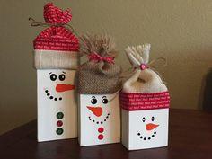 Wooden Snowman Blocks