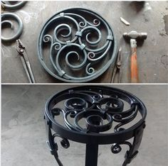 Table detail Blacksmith Shop, Blacksmith Projects, Metal Projects, Metal Crafts, Steampunk Home Decor, Diy Cnc Router, Metal Bending, Forging Metal, Iron Furniture