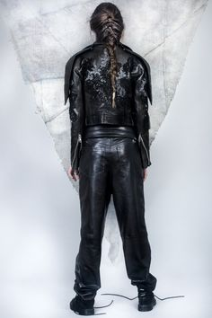 ALMAZ is a Romanian based womenswear brand founded in 2014 by creative duo Andra Olaru & Stefana Maior. Leather Sleeves, Leather Pants, Lace Jacket, Women Wear, Trousers, Book, Jackets, Fashion, Down Jackets