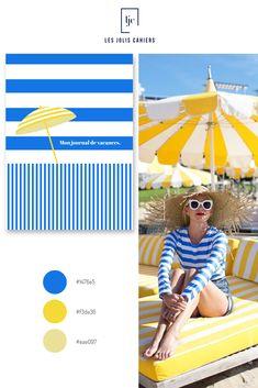 Créez votre cahier personnalisé à partir de jolies nuances qui suivent les tendances de la mode et de la déco. #nuancier #palette #inspiration #beach   #parasol #rayure #bleu #jaune #cahierpersonnalise #jolicahier #papeterie #ecriture #lesjoliscahiers Parasol, Le Jolie, Made In France, Beach Mat, Outdoor Blanket, Palette, Inspiration, Blue Yellow, Shades