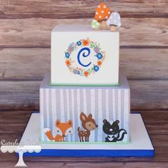 Cake by Cuteology Pretty Cakes, Beautiful Cakes, Amazing Cakes, Fondant Cakes, Cupcake Cakes, Woodland Cake, Woodland Theme, Woodland Animals, Woodland Party