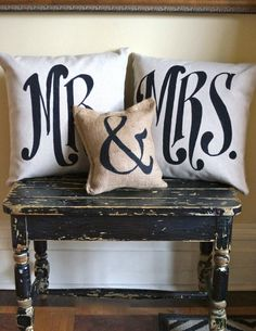 Mr Mrs Pillow set with ampersand burlap mini pillow