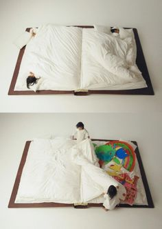 It's a bed designed to look (and function, in a sort of way) like a book!!!