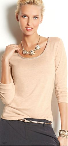Cute T-shirt (Ann Taylor) - love blush colour and a little bling can go a long way for casual evening.