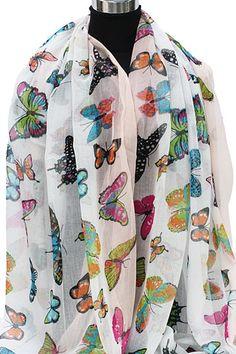 Zomersjaal wit en zalm met gekleurde vlinders