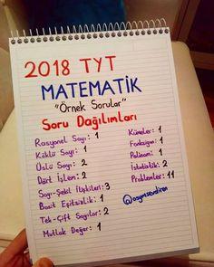 ÖSYM nin açıkladığı örnek sorularda ki Matematik sorularının konu dağılımı  . . . #yks #tyt #2018tayfa #2019tayfa #ygs #lys #ygslys #yks2018 #ykstayfa #matematik #orneksorular #osym #mezun