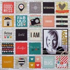 I Am Happy  **My Creative Scrapbook** - Scrapbook.com - Use 2 x 2 squares to create a grid design background.