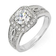 GIA Certified Round Cut Halo Diamond Engagement  3.14 Ct 18K White Gold VS1-VS2 #DiamondsByElizabeth #SolitairewithAccents