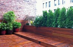 NYC Roof Garden: Terrace Deck, Wood Planter Boxes, Fence, Container Garden, Ipe contemporary deck