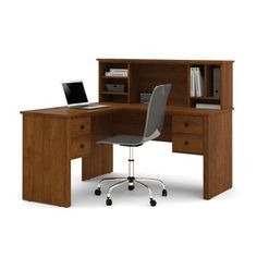 bestar somerville l shaped desk with hutch in tuscany brown 45850 63