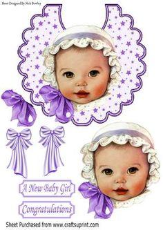 vintage baby girl in lilac white bonnet on star bib on Craftsuprint - Add To Basket!