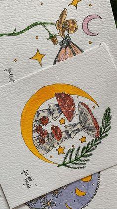 Art Drawings Sketches, Cute Drawings, Indie Drawings, Pretty Art, Cute Art, Illustration Design Graphique, Arte Indie, Mushroom Art, Mushroom Drawing