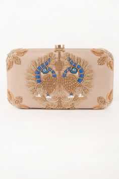 Nude Peacock Motif Clutch With Zardosi Embroidery by Karieshma Sarnaa. Shop now…