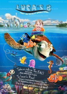 ON SALE Personalize Finding Nemo Invitation, Turtle Party, Dory Birthday Invite Kids Birthday Party Invitations, Turtle Party, Finding Dory, Delivery, 2nd Birthday, Birthday Ideas, Birthday Parties, Turtle Birthday, Funny Birthday
