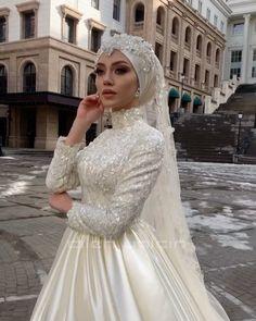 Muslim Wedding Gown, Muslimah Wedding Dress, Muslim Wedding Dresses, Hijab Bride, Muslim Brides, Luxury Wedding Dress, Wedding Dress Sleeves, Bridal Dresses, Dress Muslimah