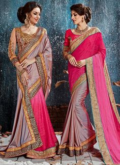 Impressive Hot Pink Classic Designer Saree