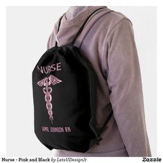 Nurse - Pink and Black Drawstring Bag Black Rope, Back To Black, Solid Black, Jamie Johnson, Hold Ups, Nurse Gifts, Black Trim, Drawstring Backpack, Shop Now