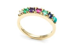 "As acrostic jewelry picks up in popularity again, modern brands are re-creating the look to appeal to today's consumer and the rising trend of personalization and customization. This ""dearest"" ring from Lulu Frost--featuring a diamond, emerald, amethyst, ruby, emerald, sapphire and turquoise--retails for $1,870."