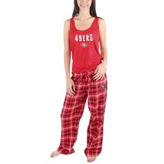 San Francisco 49ers Women's Scarlet Candid Flannel Plaid Pant and Tank Sleep Set