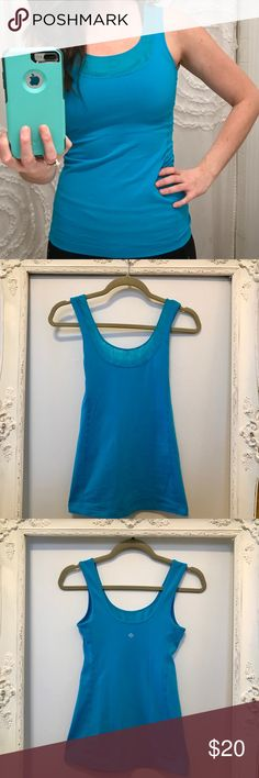 lululemon running tank high coverage bright blue 🍋 size 4 🍋 no built in bra 🍋 luon fabric 🍋 high coverage 🍋 lululemon athletica Tops Tank Tops