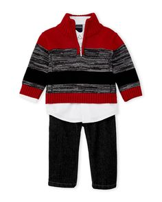Nautica (Infant Boys) 3-Piece Stripe Sweater & Jeans Set
