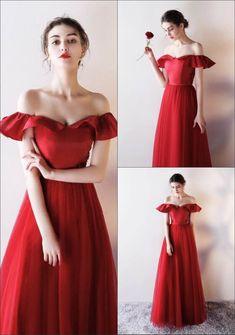 89cae43e5eebe sexy Robe rouge longue avec épaules dénudées bustier à volants col bardot  pour soirée cérémonie mariage bal danse fête noel reveillon