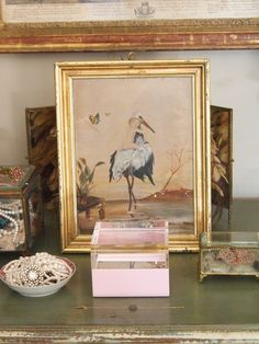 Provence Bedroom - Vicki Archer. What a wonderful print of stork and baby.