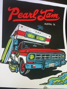 old fashioned futuristic style? extreme perspective points    Ames Brother's Pearl Jam Poster