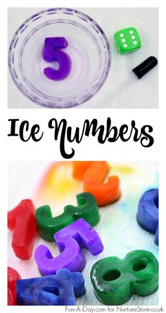 How to make icy numbers and five different ways to play number games. Maths Eyfs, Numeracy Activities, Nursery Activities, Sensory Activities, Learning Numbers, Math Numbers, Learning Activities, Spring Activities, Teaching Ideas