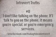 Introvert - I don't even like talking on the phone if you're special, but I will…