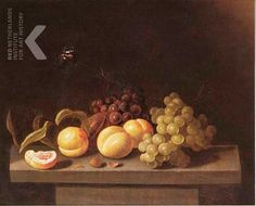 1641 - Aelst, van der Evert -  Still life of grapes and peaches, with a butterfly, on a stone table