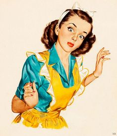 New Vintage Women Illustration Housewife Aprons Ideas Posters Vintage, Images Vintage, Retro Poster, Retro Images, Poster S, Vintage Pictures, Vintage Ads, Pinup, Pop Art