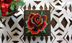 Rosa Old school / Porta gioie in legno con mosaico di M.us.E mosaico su DaWanda.com