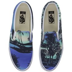 04911f25ba Vans Classic Slip-On ((Van Doren) Hoffman Blue) Skate Shoes ( 55) ❤ liked  on Polyvore featuring shoes