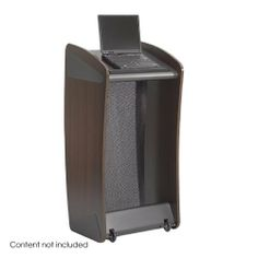 Safco Ovation Lectern Mahogany by Safco. $223.90. Ships Via UPS. No Assembly Required. The Ovation Lectern combines classic style with an innovate new look.  Features a mesh modesty panel that can be removed and replaced with your own customized graphic or banner.  Available in Medium Oak (MO) with a Silver platform and modesty panel or in Mahogany (MH) with a Black platform and modesty panel.  Constructed of furniture grade wood with a rich laminate finish.  Tw...