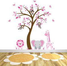 Safari Wall Decal Pink and Grey Nursery Elephant Lion