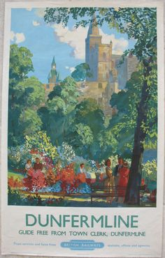 Dunfermline by Frederick Donald Blake. A bright summer's day in the Pittencrieff Park gardens with the world famous abbey behind. Dunfermline was the birthplace in 1835 and early home of Andrew Carnegie, before he emigrated to the USA. In his later years he helped to landscape the town centre and setup the Carnegie Trust there. Many Kings and Queens of Scotland are buried at the abbey, as well as Robert the Bruce. Original Vintage Railway Poster sold by originalrailwayposters.co.uk