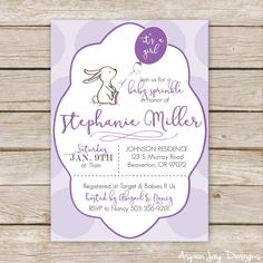 Purple Bunny Baby Shower Invitations: 5x7 or 4x6  *Would you like it to say Baby Sprinkle instead? Just let me know in the notes and I will customize that for you! M A T C H I N G ⋆ I T E M S _________________________________________________ Click here to see all the little PURPLE BUNNY COLLECTION items: https://www.etsy.com/shop/AspenJayDesigns/?search_query=purple+bunny   W H A T ⋆ Y O U ' L L ⋆ R E C E I V E ________________________________________________ 1 P...